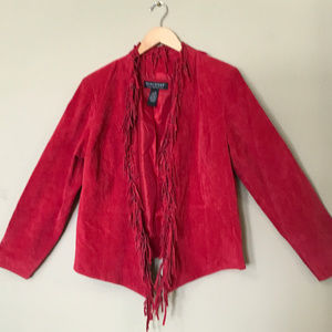Red Suede Jacket with Fringe Detail